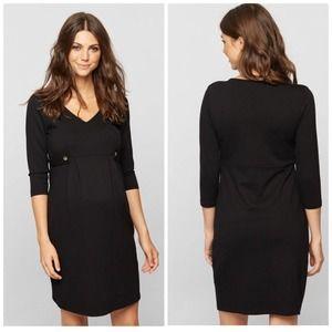 Isabella Oliver Black Marlow Tab Maternity Dress 0